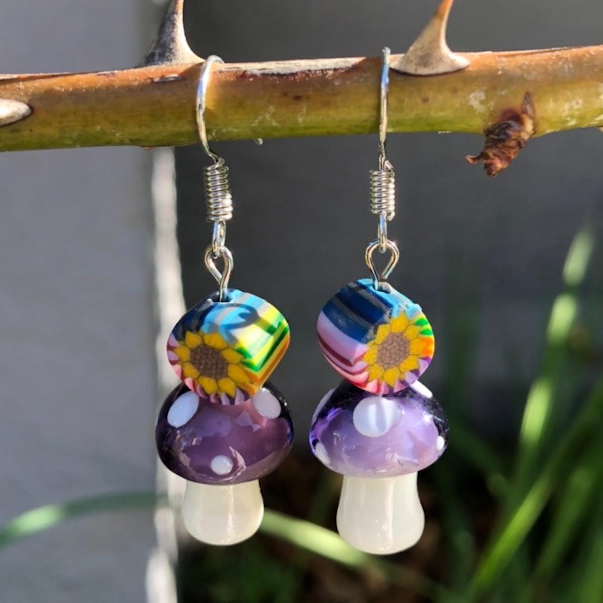 Fairyjewelz Handmade Mushroom Flower Earrings