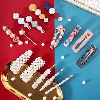 Hingwah Pearls and Acrylic Resin Hair Clips (28-Pack)