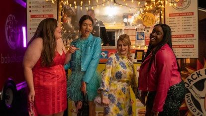 Annie and her friends in 'Shrill' Season 3, via Hulu press site.