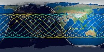aerospace corporation orbital debris map long march 5b