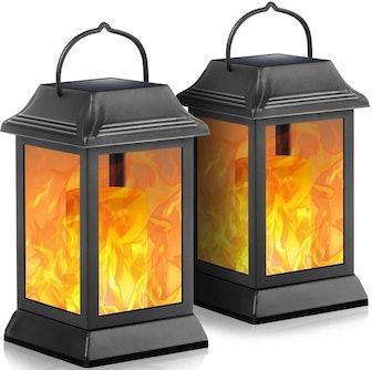 TomCare Flickering Flame Solar Lantern (2-Pack)