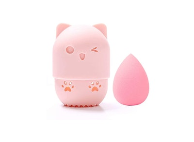 Allure & Co. Makeup Sponge and Cute Cat Shaped Container Set