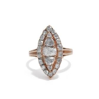 Rose-Cut Diamond Navette Ring