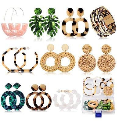 FIFATA Minimalist Bohemian Statement Acrylic Earrings (9 Pieces)