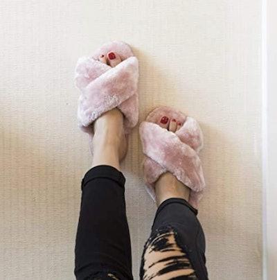 Crazy Lady Fuzzy Fluffy Memory Foam Slippers