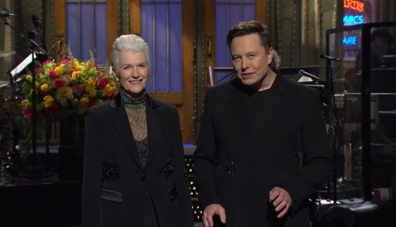 Elon Musk's mom, Maye Musk, made an appearance during his 'SNL' monologue. Screenshot via NBC YouTube