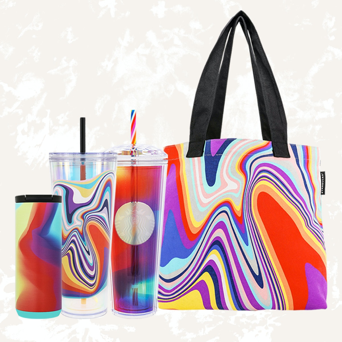 Starbucks 2021 pride merch features a tote bag and three new cups.