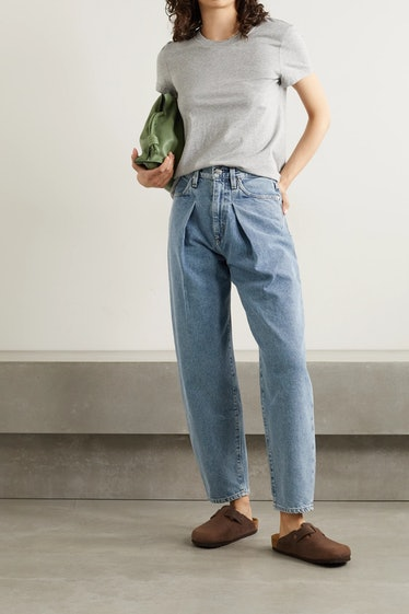 The Pleat Curve High-Rise Tapered Jeans