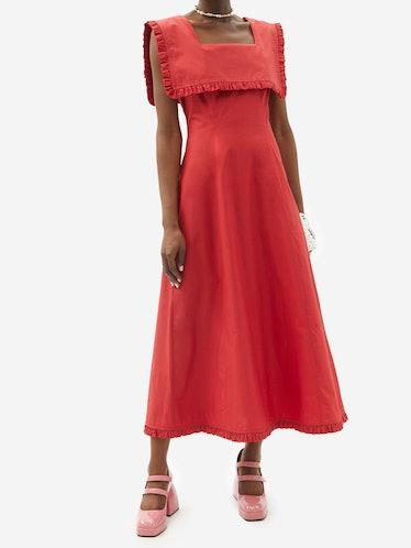 Rowena Sailor-Collar Cotton Dress