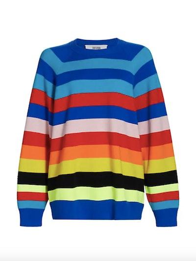 Christopher John Rogers Rainbow Striped Merino Wool-Blend Sweater