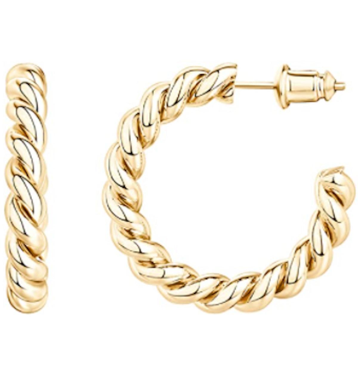 PAVOI 14K Gold Twisted Hoop Earrings