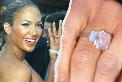 '90s engagement ring trends were all about minimalism, including Jennifer Lopez's pink stone.
