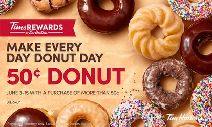 Tim Hortons doughnuts are included in the National Doughnut Day 2021 deals.
