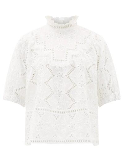 Sea Zippy ruffle-neck broderie-anglaise blouse