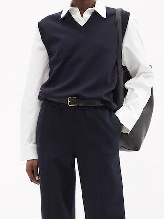 Cremona Sleeveless V-Neck Merino-Wool Sweater