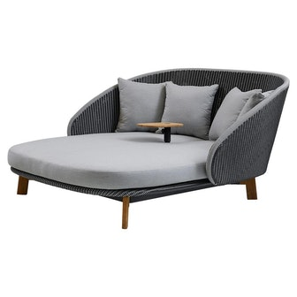 Cane-line Peacock Coastal Grey Cushion Outdoor Teak Table Daybed