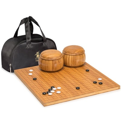 """Bamboo Etched Reversible """"Go"""" Game Set"""