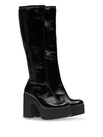 Technical Patent Fabric Platform Boots