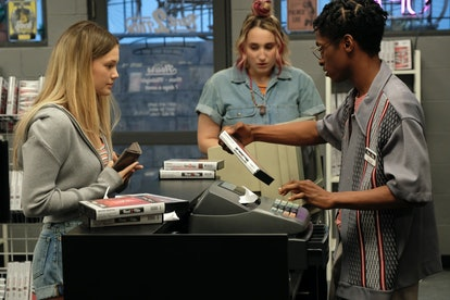Olivia Holt as Kate, Harley Quinn Smith as Mallory, and Allius Barnes as Vince in 'Cruel Summer.'