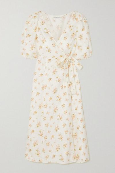 Reformation Sammy Floral-Print Crepe Wrap Dress