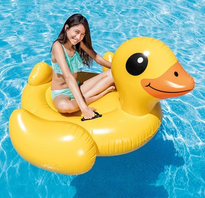 Intex Inflatable Yellow Duck Ride-On Pool Float,