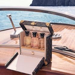 Glass bottles on a boat in the ocean