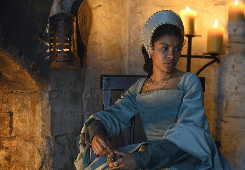 Thalissa Teixeira as Madge Shelton in Channel 5's 'Anne Boleyn'.