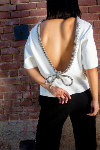 Open Back Crystal Bow Trim Tee