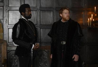 George Boleyn (Played by Pappa Essiedu) and Duke of Norfolk (Played by Kris Hitchen) in 'Anne Boleyn'