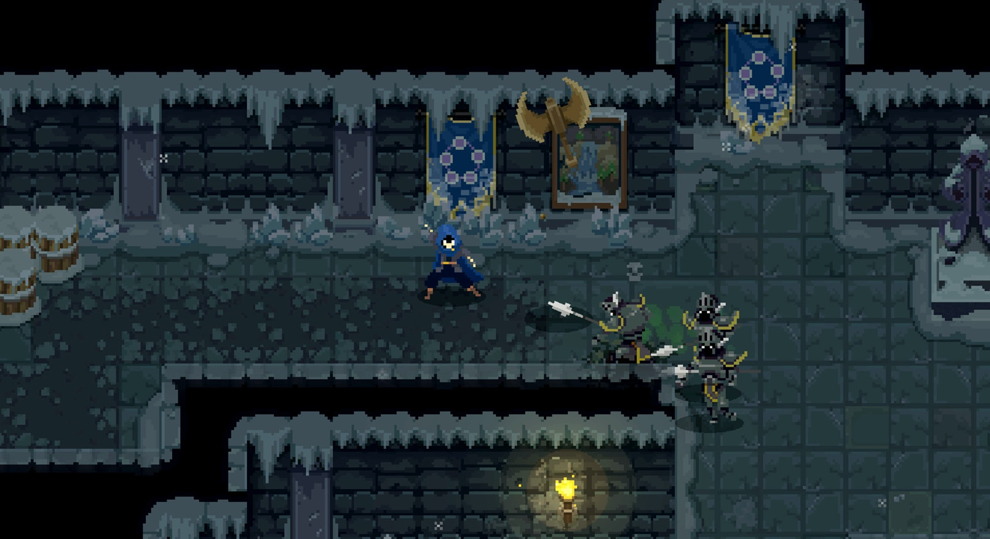 plater character in blue cloak fighting guards in wizard of legend