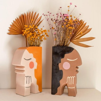 Face Bookend Vase by Justina Blakeney