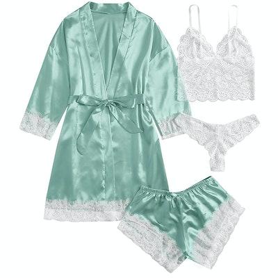 SOLY HUX 4-Piece Satin Pajama Set