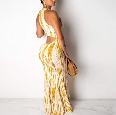 IyMoo Sleeveless Halter Maxi Dress