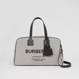 Horseferry Print Canvas and Leather Cube Holdall
