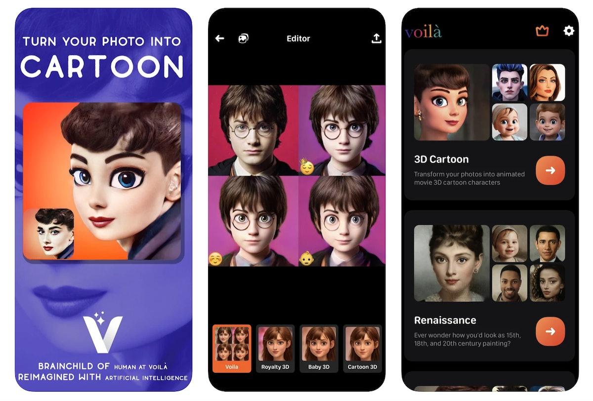 Use Voilà App's cartoon face filter for a virtual makeover.