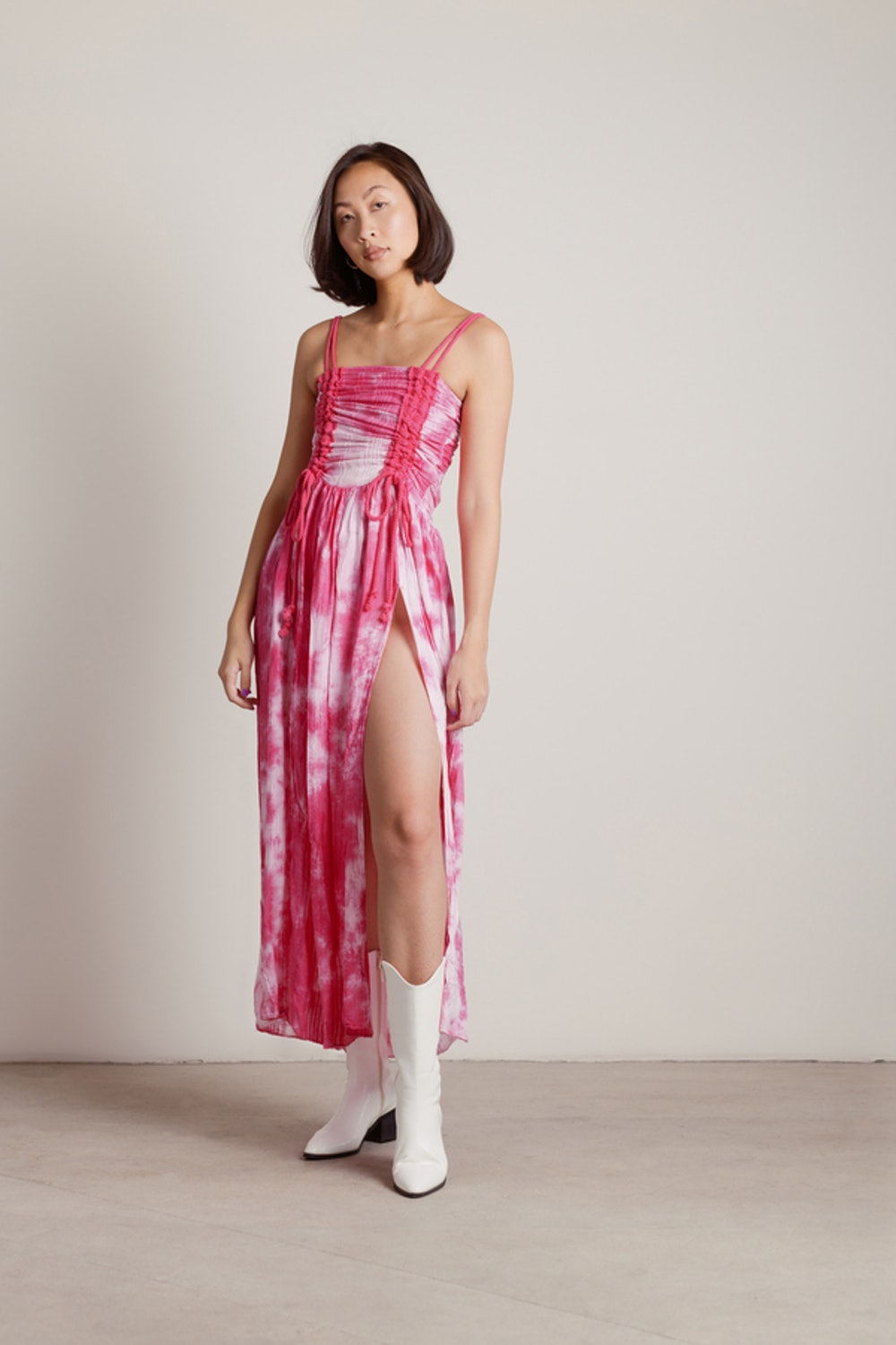 Give Me Attention Tie-Dye Ruched Slit Maxi Dress in Pink
