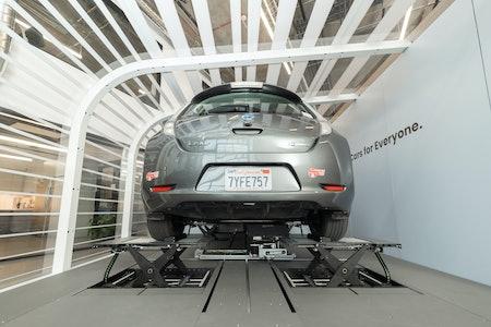 Nissan Leaf recharging at Ample station
