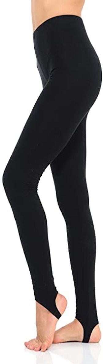 Solid Cotton Spandex Jersey Stirrup Leggings
