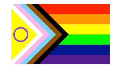 A version of the Progress Pride flag with a symbol for the intersex community.