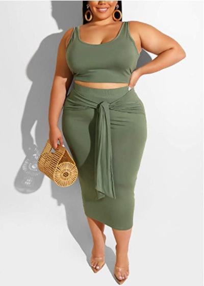 lyMoo Midi Skirt and Crop Top Set