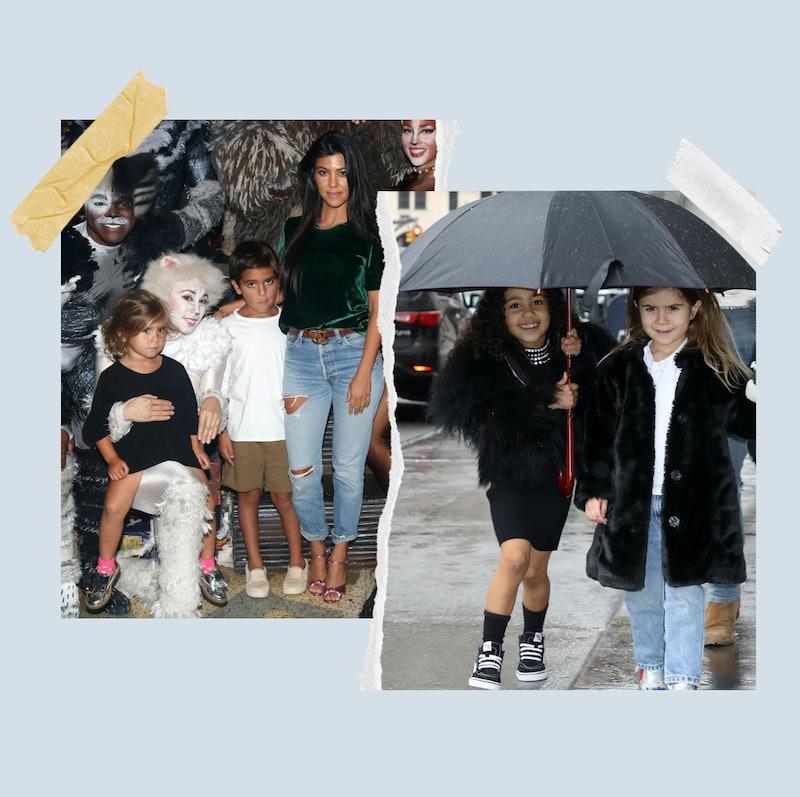 Penelope Disick, Mason Disick, Kourtney Kardashian, and North West.