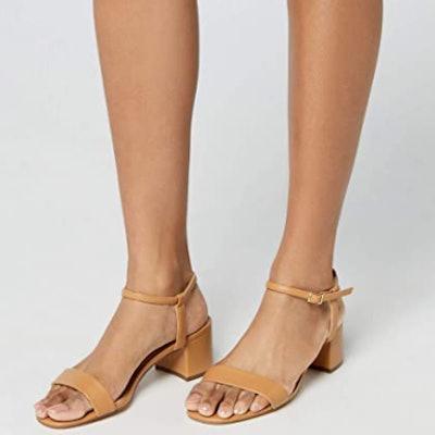 find. Block Heel Simple Strap Sandal