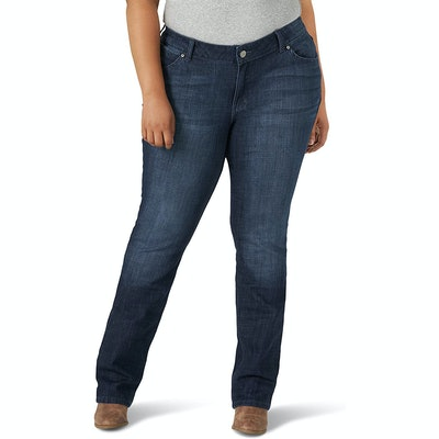 Wrangler Plus Size Western Mid-Rise Straight Jeans
