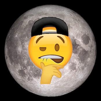 a frat bro emoji over the moon