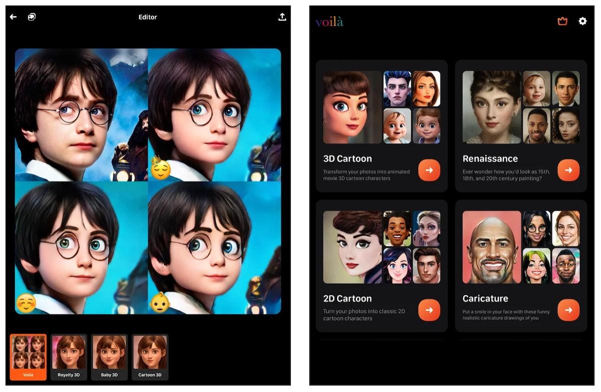 Use Voilá App's cartoon face filter for a virtual makeover.