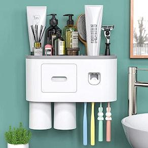 showgoca Automatic Toothpaste Dispenser & Toothbrush Holder