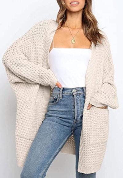 YIBOCK Long Sleeve Chunky Cable Knit Cardigan