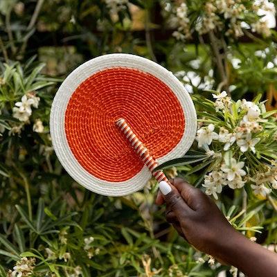 Handwoven Fan - Orange and White