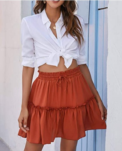 Alelly High Waist Mini Ruffle Skirt