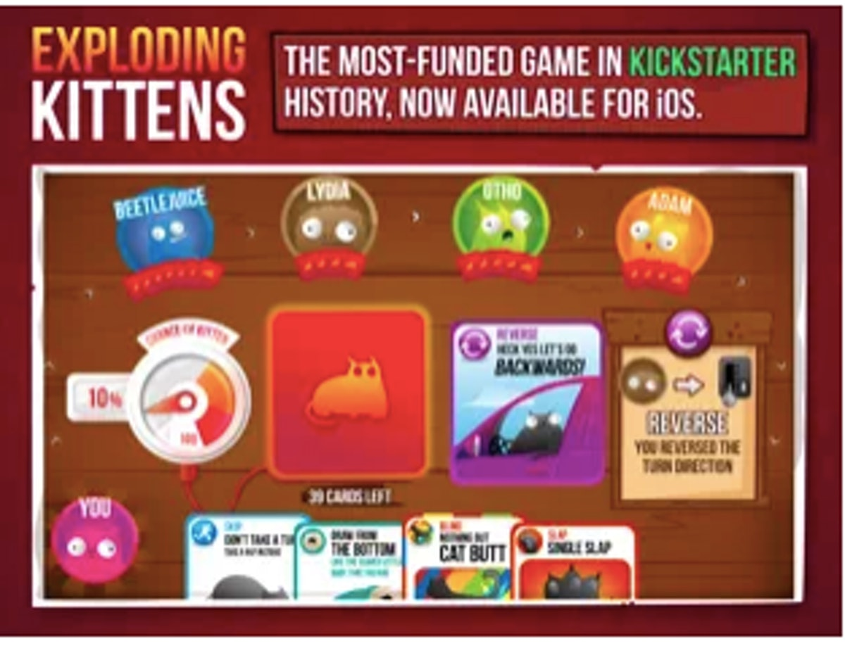 These two-player virtual games like 'Exploding Kittens' are so much fun.